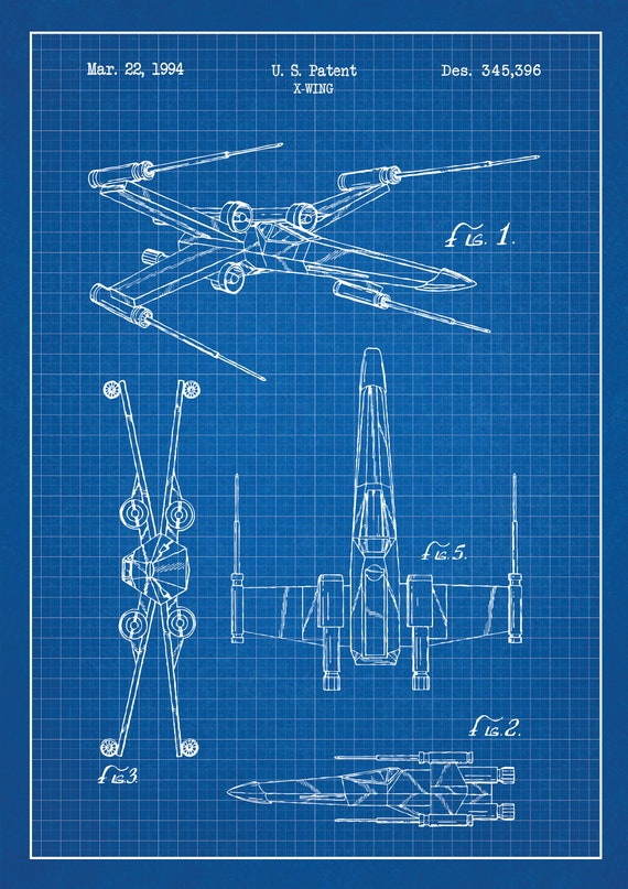 Star Wars X Wing Blueprint Graphic Artwork Patent Poster Etsy