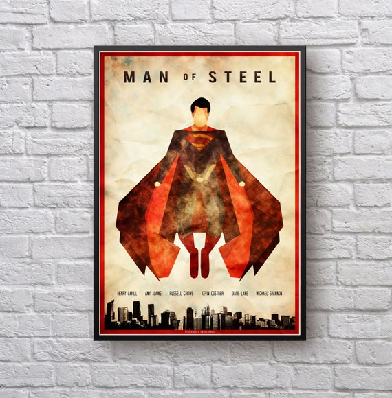 Man of Steel Art Vintage Poster Set Superman A4 A3 A2 Sets Available