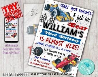 Race car invite | Etsy