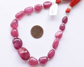8 Inches GLASS FILLED RUBY Smooth Tumble Shape Treated Gemstone Plane Center Drill Beads Line Ruby Beads Strand Unique Gemstone Beads