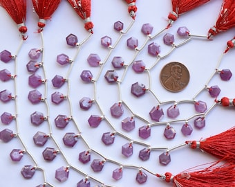 Gemmore 11pc STRAWBERRY QUARTZ FACETED Grade-B Flat Drops Shape Natural Gemstone Briolette Side Drill Beads Line Rare Beads For Jewelry
