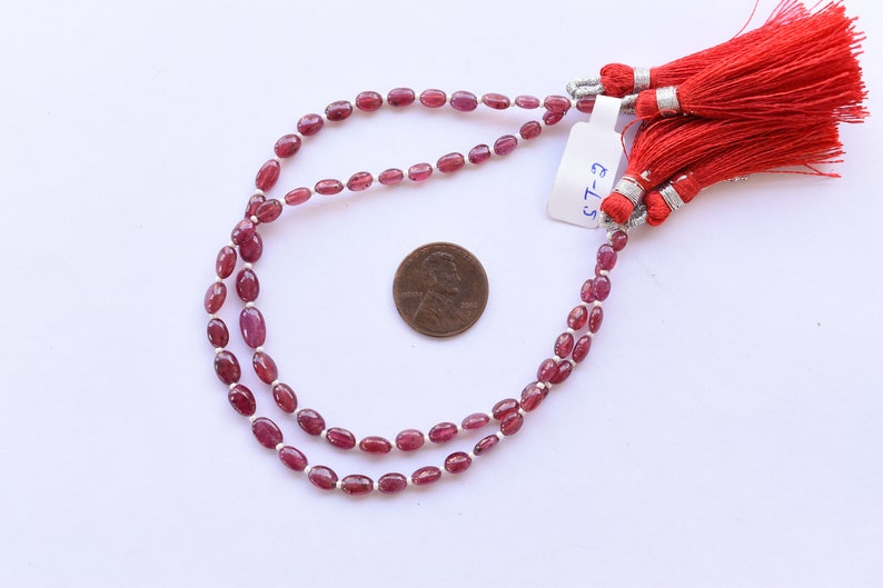 Rare Gemstone Beads Strand 8 Inches GLASS FILLED RUBY Smooth Oval Shape Treated Gemstone Plane Center Drill Beads Line Ruby Beads Strand