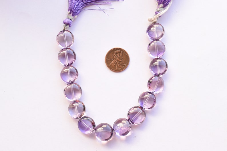 13.5x14x8 mm 8 Inches Amethyst Smooth Round Center Drill Natural Gemstone Beads Strand Rare Gemstone Strand Genuine Amethyst Beads