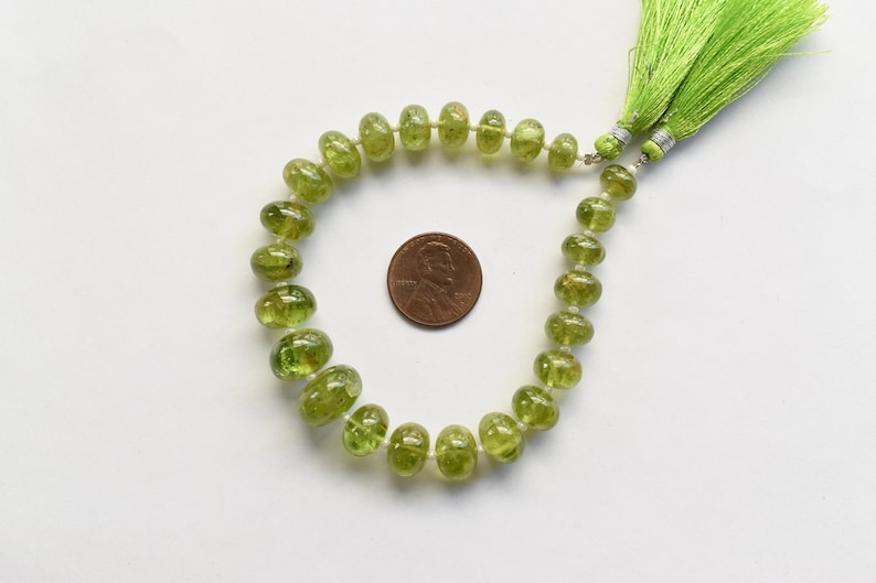 Reasonable Price 8 Inches PERIDOT SMOOTH RONDELLE Shape Natural Gemstone Plain Center Drill Beads Line Wholesale Peridot Beads Strand