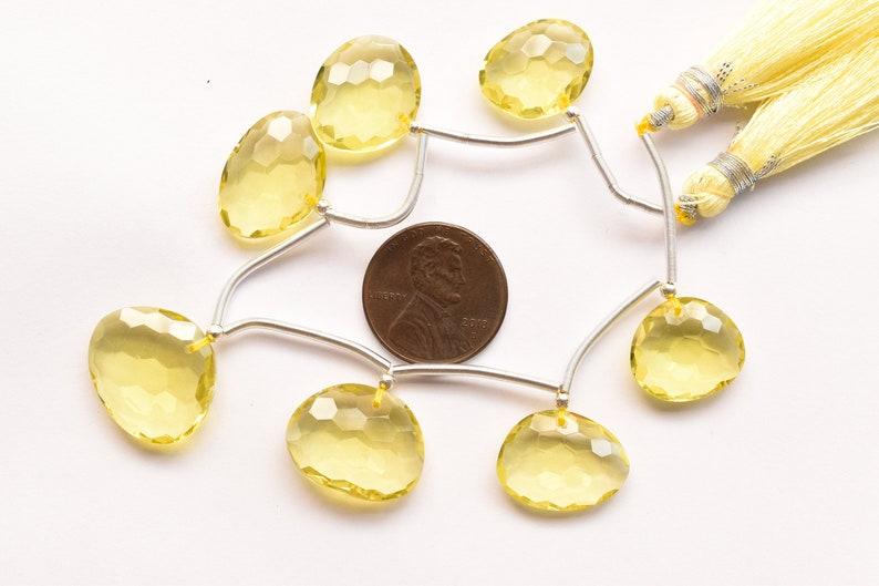 Genuine Lemon Beads S67 Unique 7 Pieces Lemon Quartz Faceted Uneven Face Drill Natural Gemstone Beads Strand 16x19x6 to 13x15x6 mm