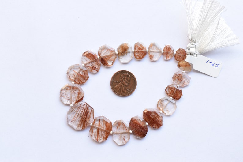 Rutile Beads 8.5 Inches Copper Rutile Quartz Faceted Crown Cut Center Drill Natural Gemstone Beads Strand 17.5x20x3 to 7.5x9.5x2 mm