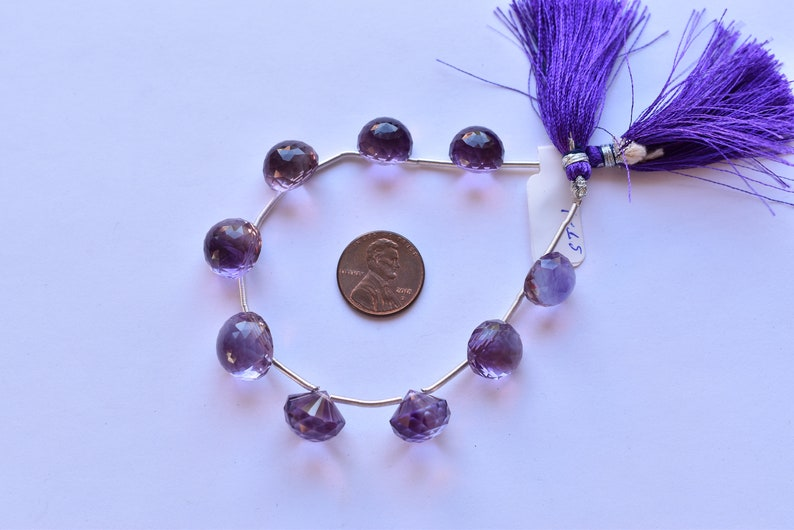 AMETHYST MUSHROOM DROPS Rose Cut Faceted Briolette 9pc Layout of Faceted Drops Beads for Jewelry Wholesale Natural Gemstone Beads