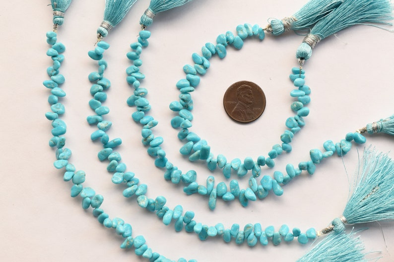 Turquoise Strand Gemstone Beads 6 Inches NATURAL BLUE TURQUOISE Stabilized Tumble Shape Natural Gemstone Smooth Center Drill Beads Line