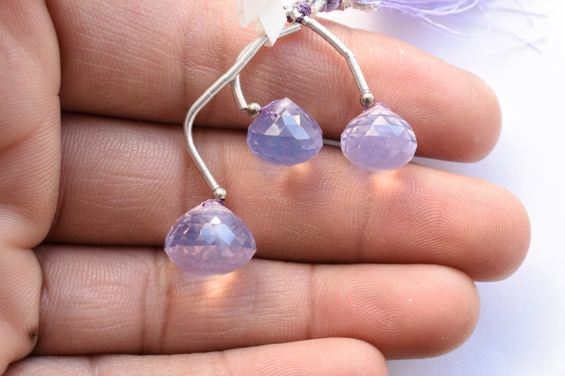 3 Pieces Lavender Quartz Faceted Onion Shape Drops Natural Gemstone Briolette Side Drill Beads Light Purple Lavender beads Drops Beads
