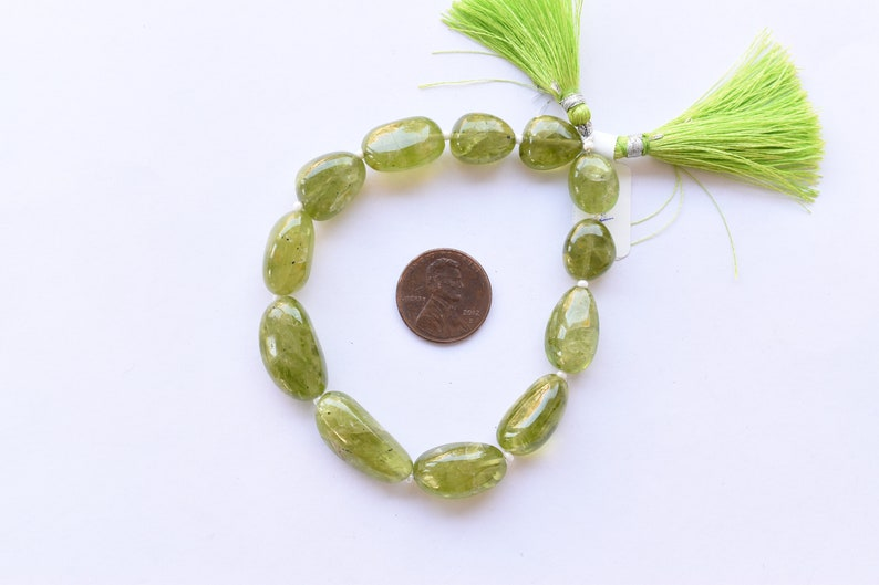 8 Inches NATURAL PERIDOT SMOOTH Tumble Shape Natural Gemstone Plain Center Drill Beads Line Genuine Peridot Beads Strand Gemstone Beads