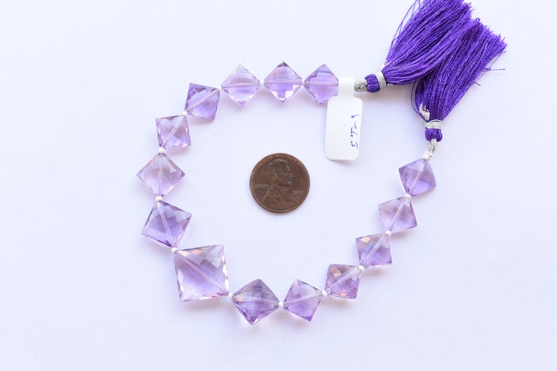 8 Inches NATURAL AMETHYST FACETED Square Shape Natural Gemstone Briolette Center Drill Beads Line Amethyst Beads Strand Gemstone Beads