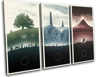 Lord of the Rings Trilogy Posters Movie Greats Canvas Art Print Box Framed Picture Wall Hanging