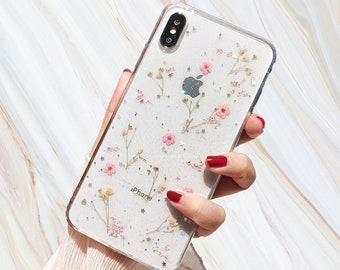 fb6cb7da60 Pink Pressed Flower Phone Case - Real Dried Flowers iPhone X 6 6s 7 8 Plus  Xr Xs Max Cover Glitter Kawaii Cute Girly Gift for Her