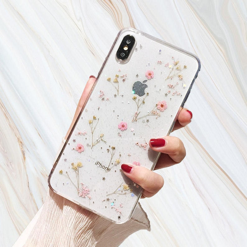best website 4cb4c 3dc47 Pink Pressed Flower Phone Case - Real Dried Flowers iPhone X 6 6s 7 8 Plus  Xr Xs Max Cover Glitter Kawaii Cute Girly Gift for Her