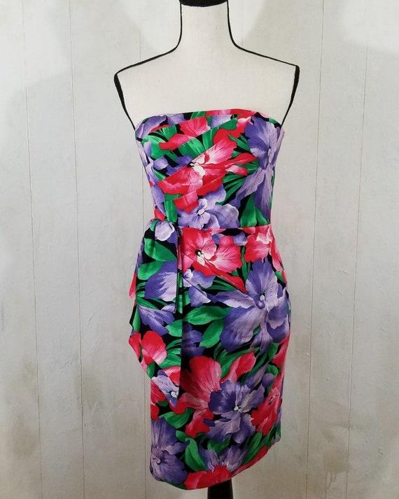 Vintage Strapless Tropical Print Dress - image 9