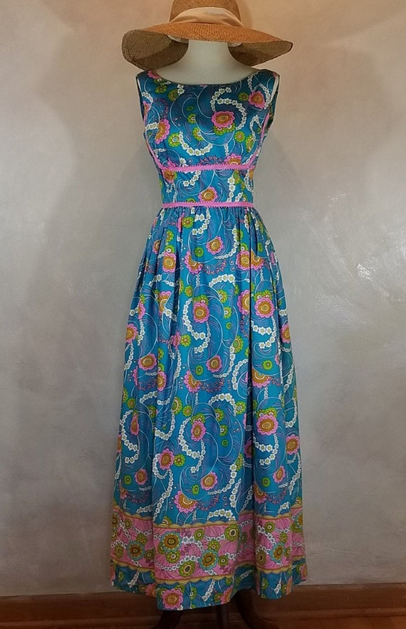 Vintage  1970's Mod Print Maxi Summer Dress