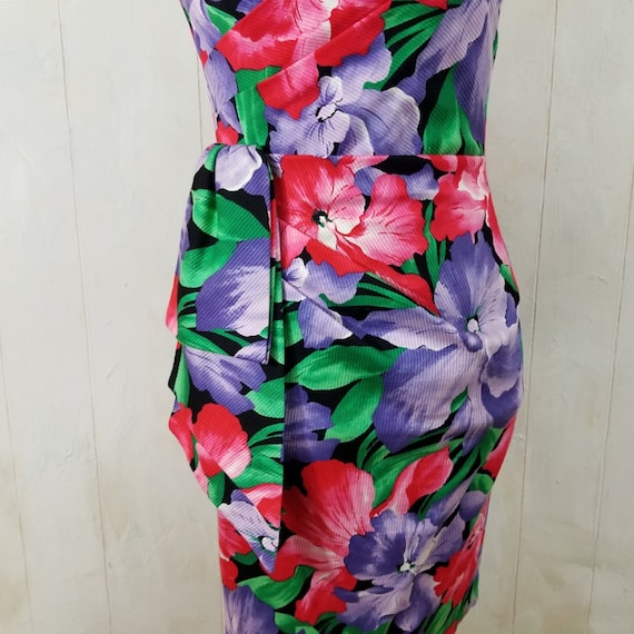 Vintage Strapless Tropical Print Dress - image 5