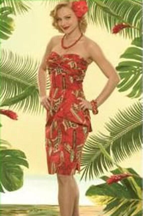 Vintage Strapless Tropical Print Dress - image 10