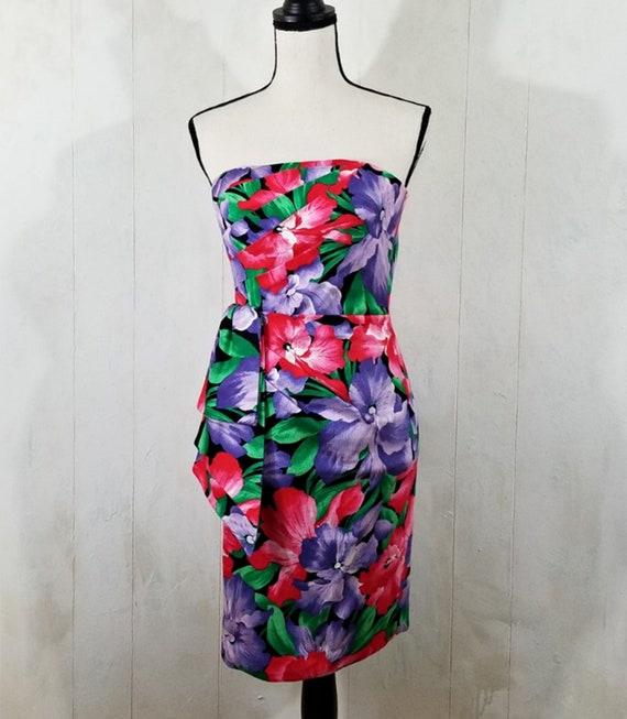 Vintage Strapless Tropical Print Dress - image 2