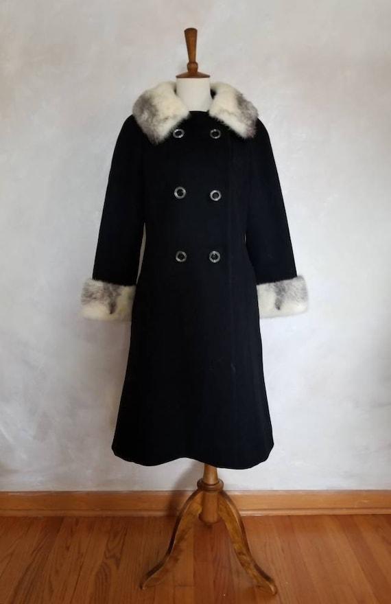 Vintage Coat/1950 Fur Accent Coat/Womens Winter Co