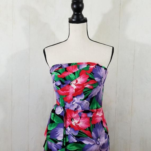 Vintage Strapless Tropical Print Dress - image 3