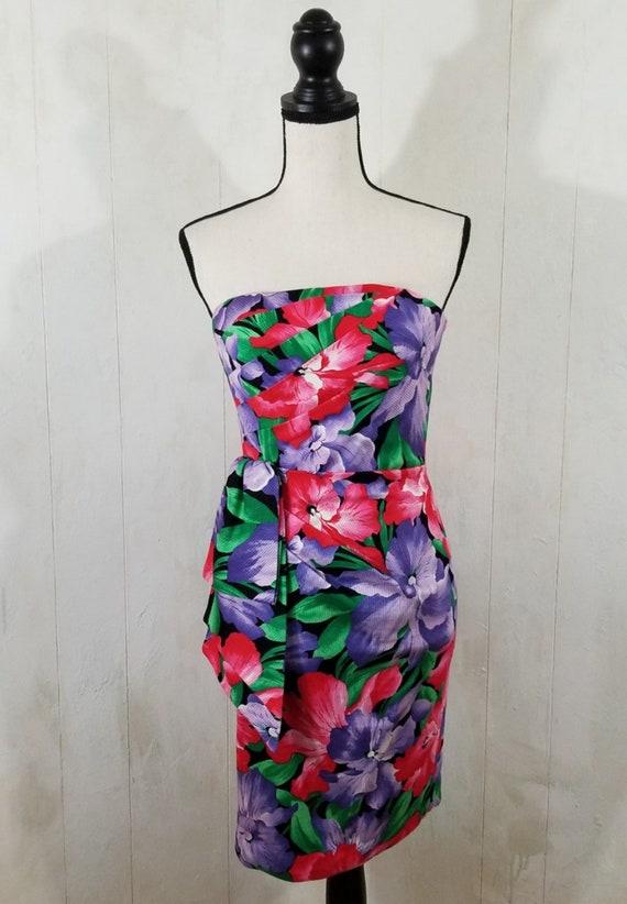 Vintage Strapless Tropical Print Dress - image 7