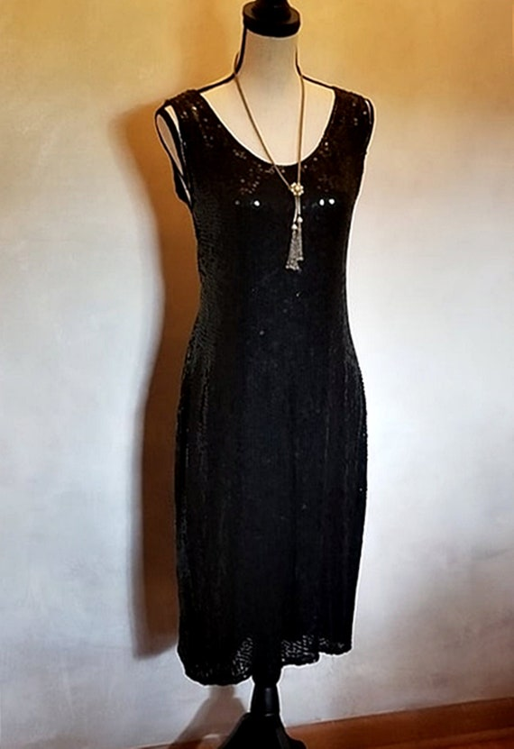Vintage 1980 Eighties Black Sequin Dress Sleeveles
