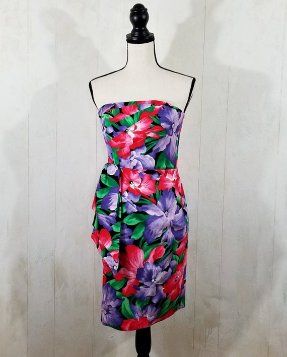 Vintage Strapless Tropical Print Dress - image 1