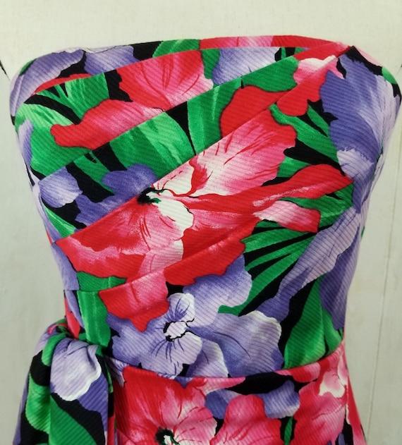 Vintage Strapless Tropical Print Dress - image 6
