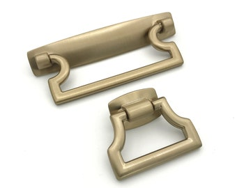 """Champagne Bronze """"Bail"""" Squared Cabinet Drawer Pull, Modern Cabinet Hardware Farmhouse Drawer Pull"""