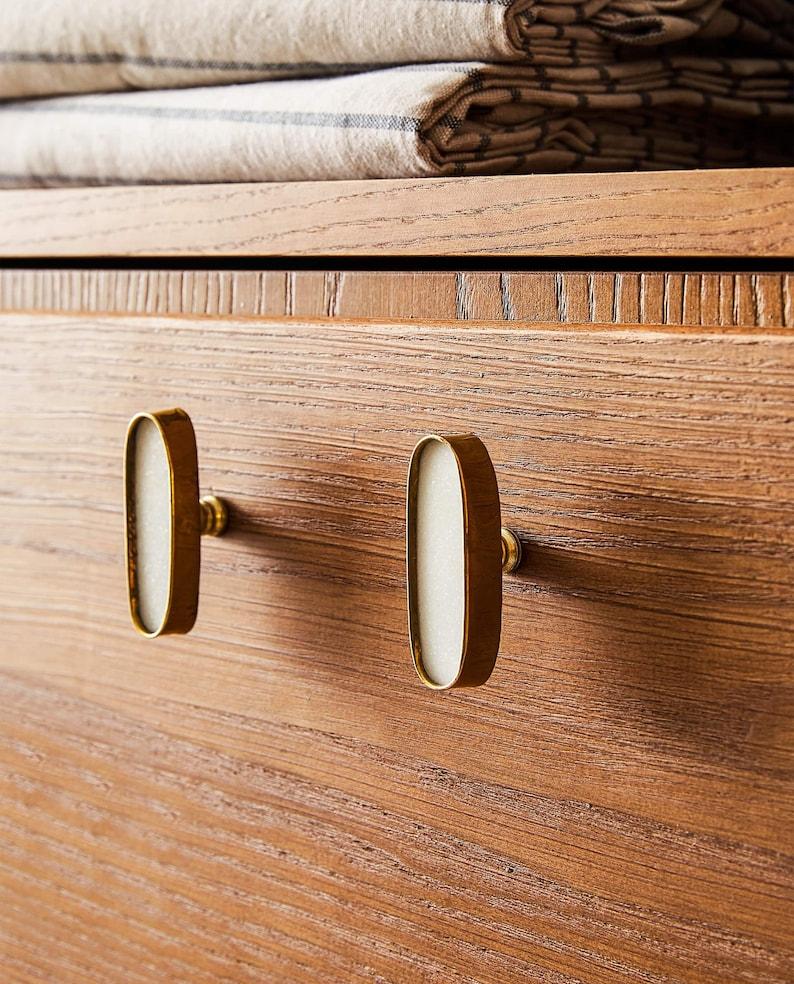 Brass Oval Cabinet Knob Naila Brass and White image 3