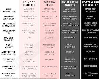 "Baby Blues vs. Postpartum Anxiety vs. Postpartum Depression Printable PDF Infographic   8.5"" x 11"" Pink Color Scheme"