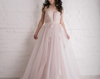 c705cff2e1 Pink wedding dress | Etsy