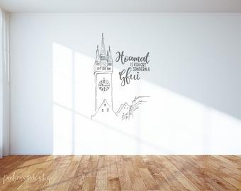 """Wand-Tattoo   """"Straubing Stadtturm""""   mit Hoamat-Spruch   handgemalt"""