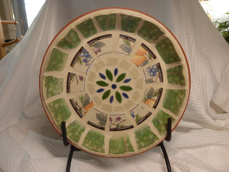 Handmade Mosaic Catch-All Bowl Broken China Tile on Terra Cotta base