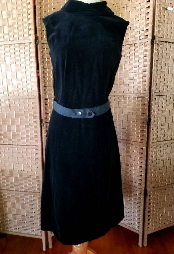 Vintage 60s Little Black Dress Black Velvet Sleeve
