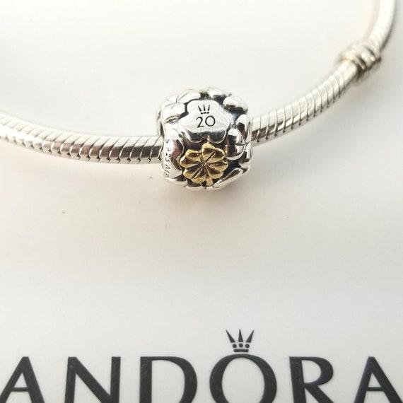 New Pandora Sterling Silver 14k Gold 20th Anniversary Four Leaf Clover Charm 799005c00 W Box