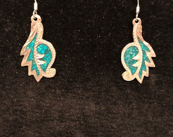 Navajo Pendant with Natural Turquoise  Handcarved Jaguar warrior set in .925 Sterling Silver .Inspired in Navajo Jewerly and mayan god.