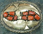 Wilbert Vandever Navajo 14k Yellow Gold Sterling Silver Red Coral Belt Buckle