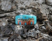 Native American Sterling Silver (.925) Multi-Stone Inlay Village Ring