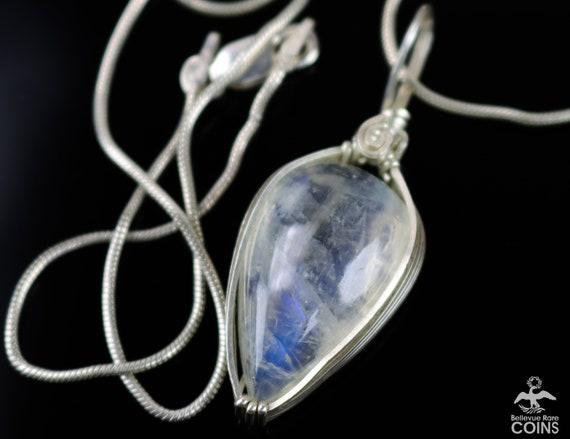 Vintage signed moonstone effect pendant
