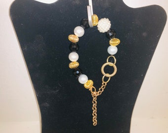 19439cc803 Gold Black and Pearl Chanel Inspired Bracelet