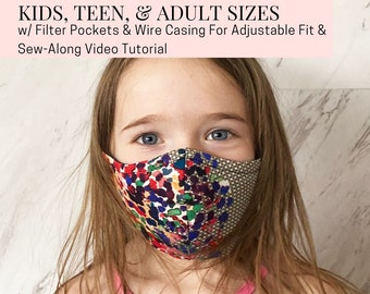 Printable Face Mask Sewing Pattern For Kids Teens, and Adults w/ Filter Pocket and Wire Nose Casing For Custom Fit