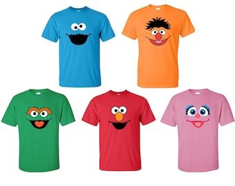 15644d682a Sesame Street T-Shirts All Sizes! Elmo, Cookie Monster, Abby Cadabby,  Rosita, Bert, Ernie, Count Von, Zoe, Big Bird, Grover, Oscar