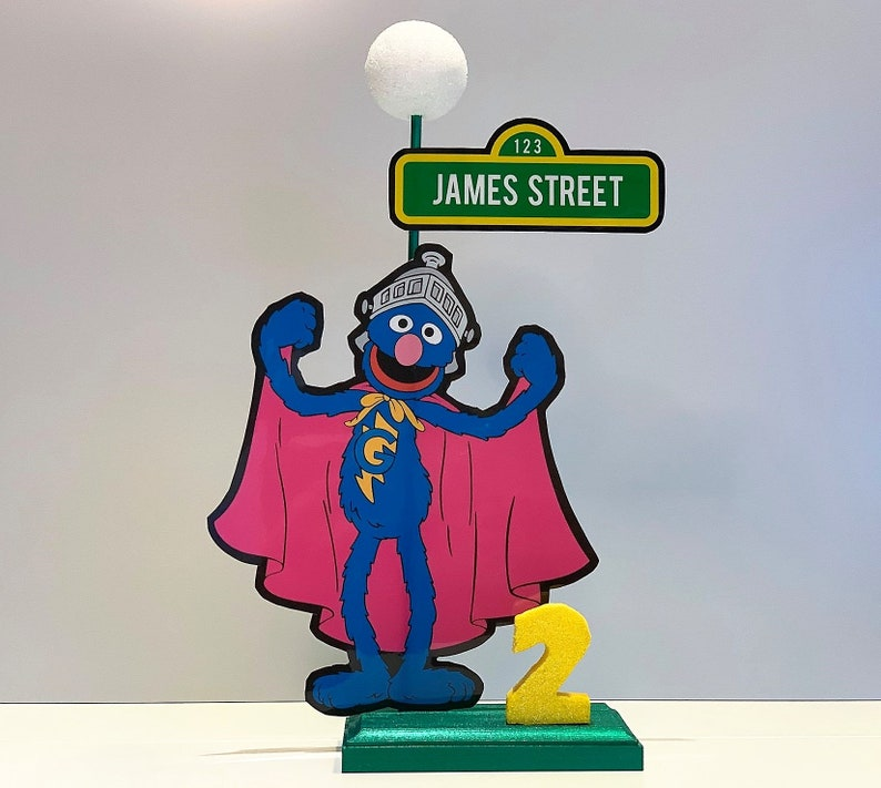 14 Inch Grover Sesame Street Birthday Theme Party Lamp Post Centerpiece  With Personalized Name And Number