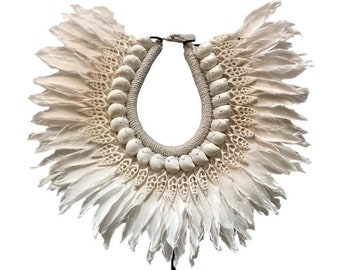Papua Necklace with white feathers and shells, Home Decor, Handmade