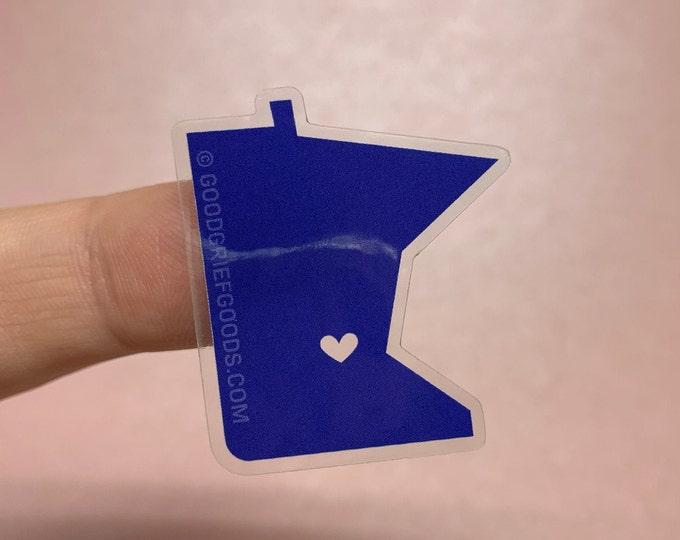 DEEP BLUE Mini Minnie - Small Mid-Century Twin Cities Minnesota Clear Vinyl Die Cut Weather Resistant Sticker