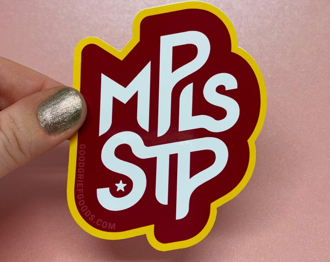 WINDOW CLING --- Minneapolis and Saint Paul Maroon and Gold Vinyl Die Cut Static Cling