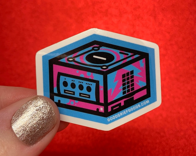 80's Style Blue and Pink Gamecube Retro Video Gaming Vinyl Die Cut Weather Resistant Sticker