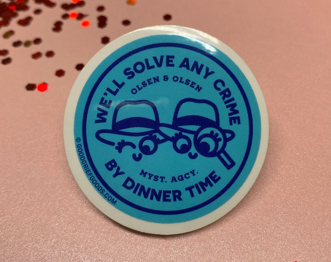 """The Adventures of Mary-Kate and Ashley - """"Olsen and Olsen Mystery Agency"""" Clear Vinyl Die Cut Weather Resistant Sticker - BLUE/NAVY VERSION"""
